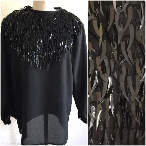 Vintage black fringe shirt, Black Fringe shirt, fr