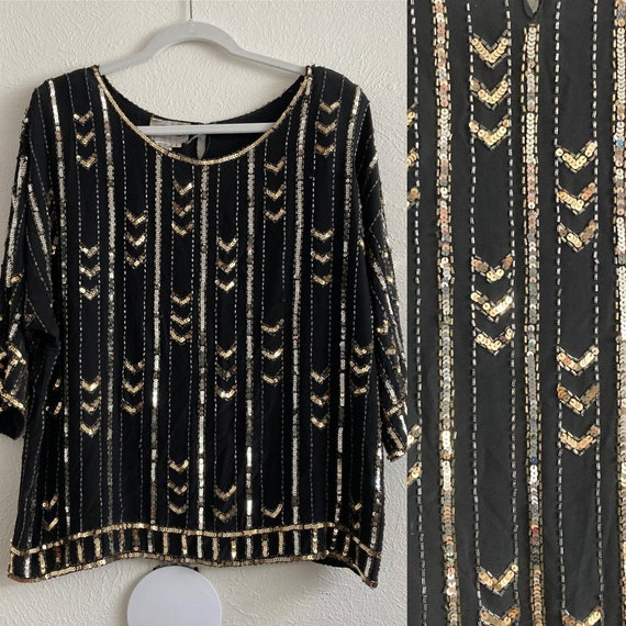 Black and Gold Sequin Top Silk