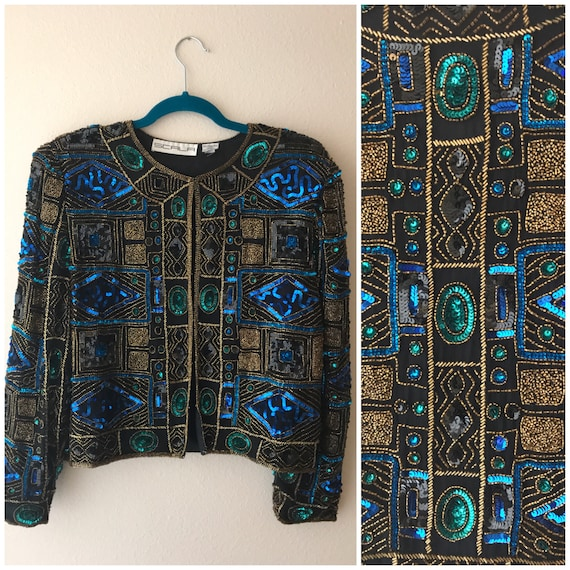 Geometric Beaded jacket , blue beaded jacket , seq
