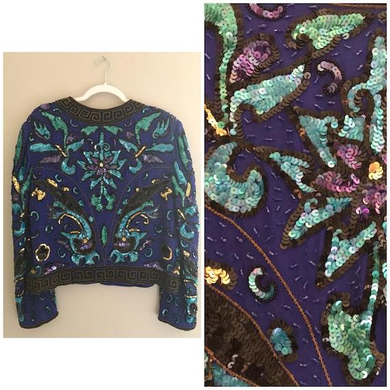 Vintage sequin jacket, colorful sequin jacket , be
