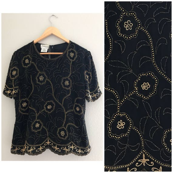XL Black and gold beaded top, vintage beaded top,