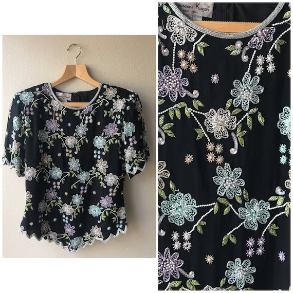 Black beaded shirt, floral beaded top , beaded top