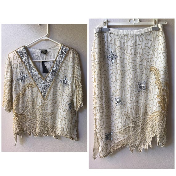 white and gold sequin top and skirt , white sequin