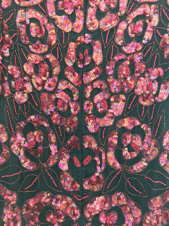 Pink/ red floral sequin top , holiday sequin top,… - image 5