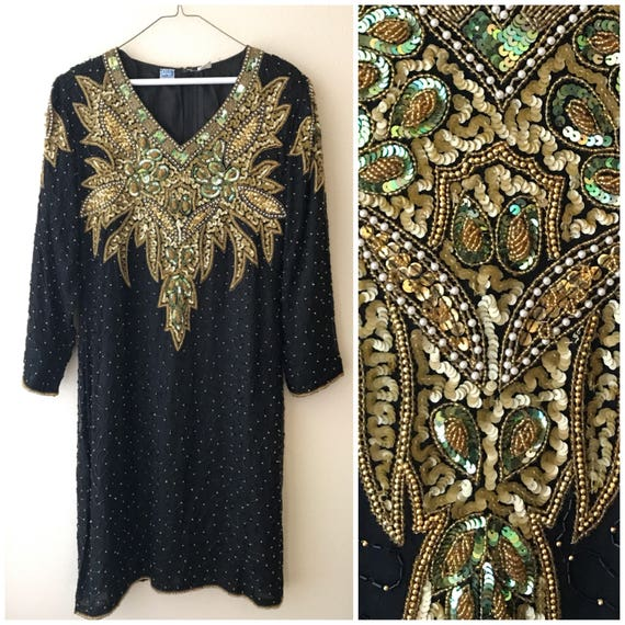 Gold Beaded dress, black and gold sequin dress , b