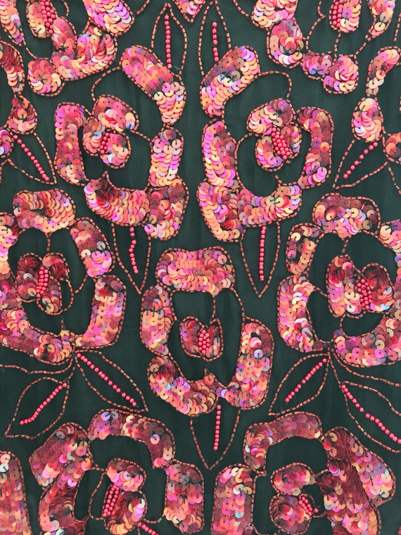 Pink/ red floral sequin top , holiday sequin top,… - image 3