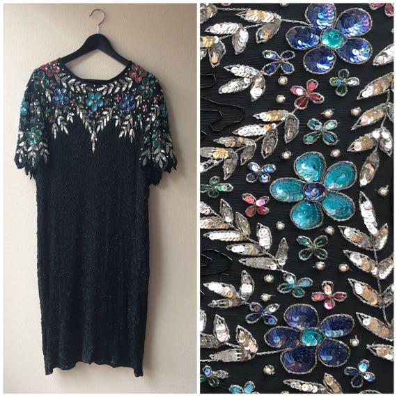 XL Black sequin dress, beaded black dress , sequin