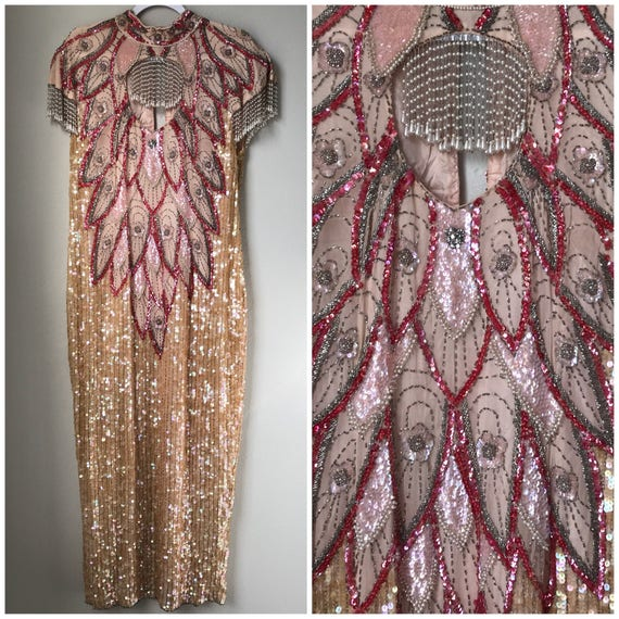 Vintage blush pink plus size beaded gown