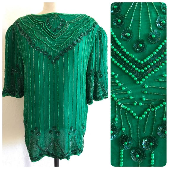 Green Sequin Top, green beaded top, green sequin s
