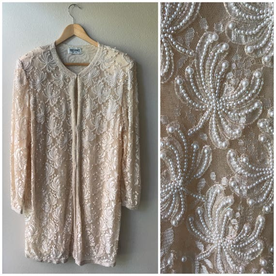 Plus size vintage beaded jacket, lace and pearl vi