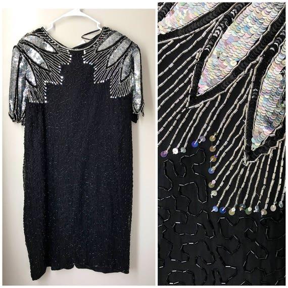 Plus size vintage black dress , fun shoulder detai