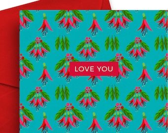 Love you – Occasion Greeting Card, NZ Flora and Fauna