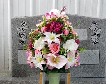 Cemetery Permanent Vase Flowers-Flowers For Grave-Cemetery Flowers-Grave Vase Arrangement-Grave Decoration-Vase Flowers-Priced Inidually & Flowers in vase | Etsy