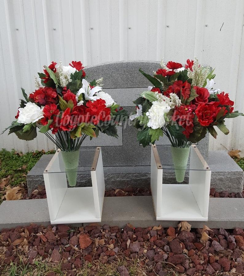 image 0 ... & Christmas Cemetery Permanent Vase Flowers-Flowers For | Etsy