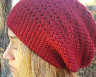 Red Slouchy Beanie Hat - Red Women's Hat - Red Crochet Winter Hat - Red Winter Accessories - Red Winter Fashion - Red Wool Slouch Beanie Hat