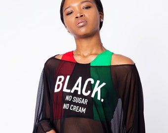 2f82e9b3371 No Sugar No Cream ® Black and Gold Oversized (Fits Small- 2XL) Off the  Shoulder Mesh Crop top Feat. on ESSENCE / AFROPUNK+