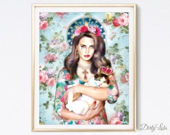 Lana Del Rey - Portrait - Illustration - Art Print - Drawing - Virgin Mary - Saint - Virgin - Cat Art