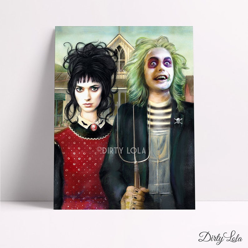 Beetlejuice American Gothic Portrait Illustration Art Etsy