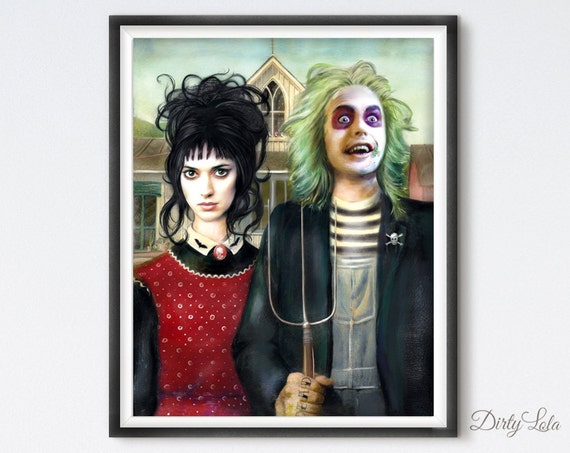 Beetlejuice American Gothic Portrait Illustration Art