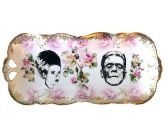 Vintage - Illustrated - Frankenstein Plate - The Bride - Upcycled - Wall Display  - China - Skull - Floral - Altered - Antique Jewelry Tray