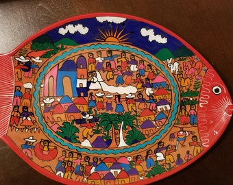 Mexican hand painted fish decorative platter
