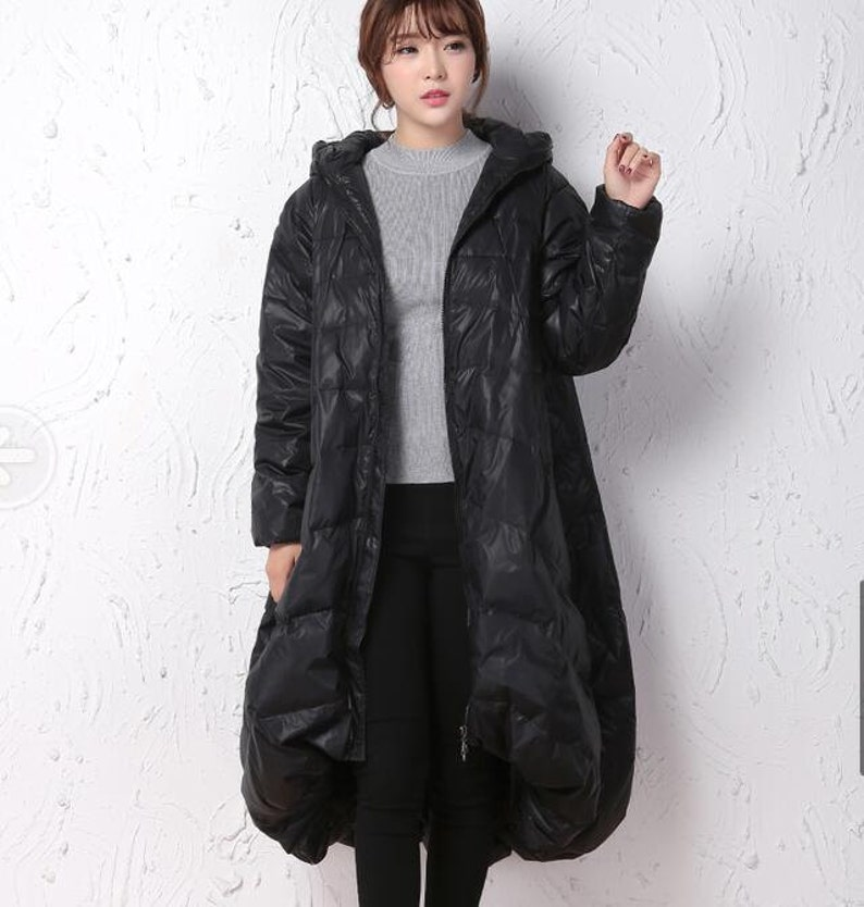 ab956c6123e Winter CoatBlack A-line Coat Hooded Winter Down CoatWomen