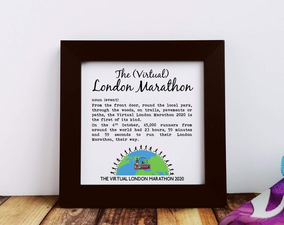 Virtual London Marathon Gift - Event Definition - Small Framed Print. Marathoner Gift, Runner Gift, Running Buddy Gift, London Marathon 2020