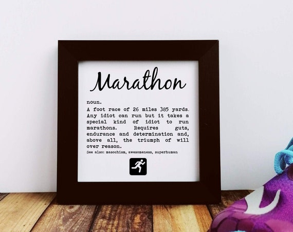Marathoner Gift. Marathon Definition. Small Framed Print. Marathon Training, Marathon Print, Marathon Runner Gift. London Marathon.