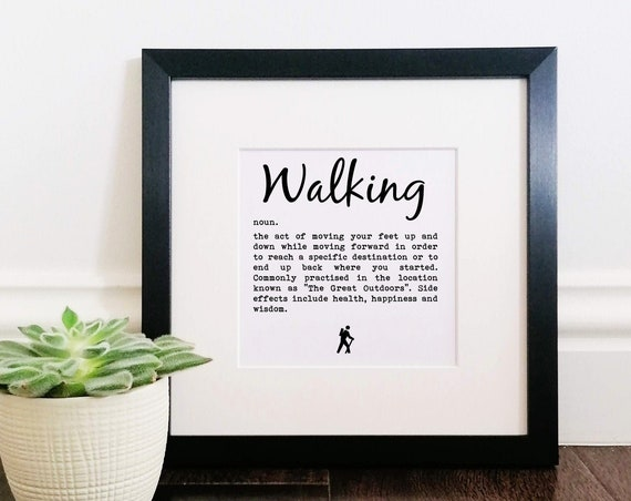 Hiking Gifts - Walking Definition. Large Framed Print. Walking Gift. Rambler Gift, Men's Gifts Hiking. Hiking Gifts for Her. Outdoor Gift.