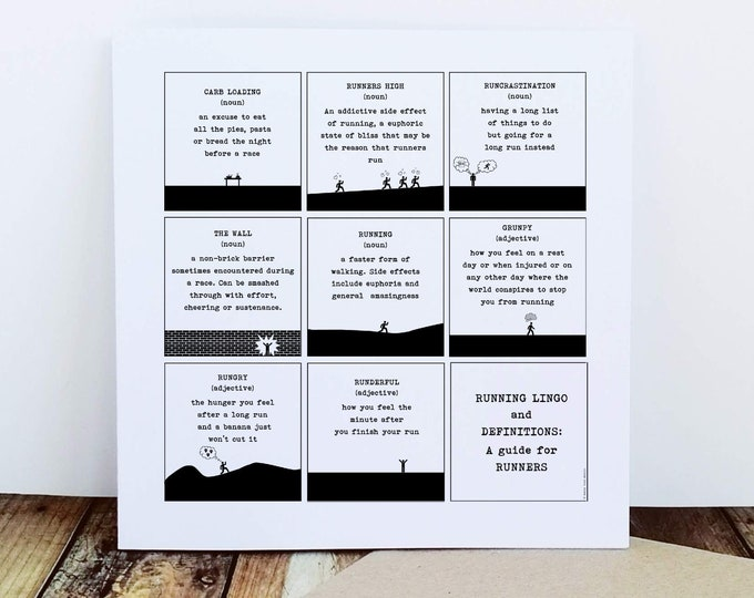 Running Card - Running Lingo and Definitions - Gifts for Runners Men