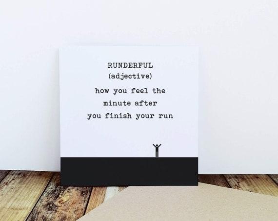 Running Card - Runderful. Runner Card, Running Cards, Good Luck Card for a Runner, Marathon Card, Half Marathon Card, Funny Running Card