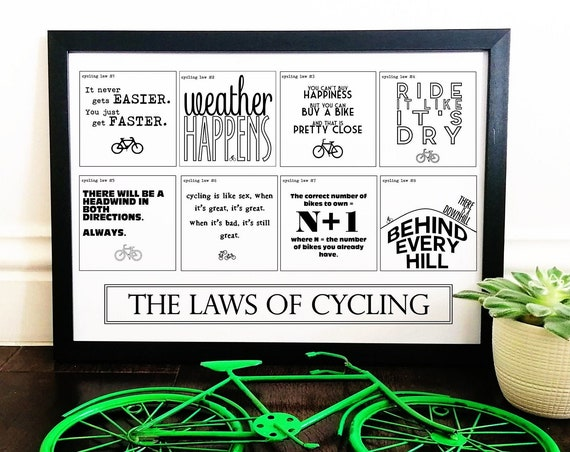 A3 Framed Print - The Laws of Cycling - Gift Ideas for Cyclists