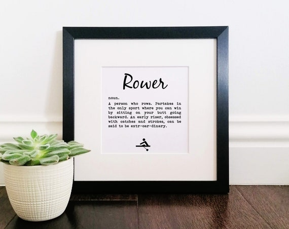 Rowing Gifts - Rower Definition. Large Framed Print. Rower Gift. Rowing Art, Crew Rowing Gift. Funny Rowing Present, Gift for Rower