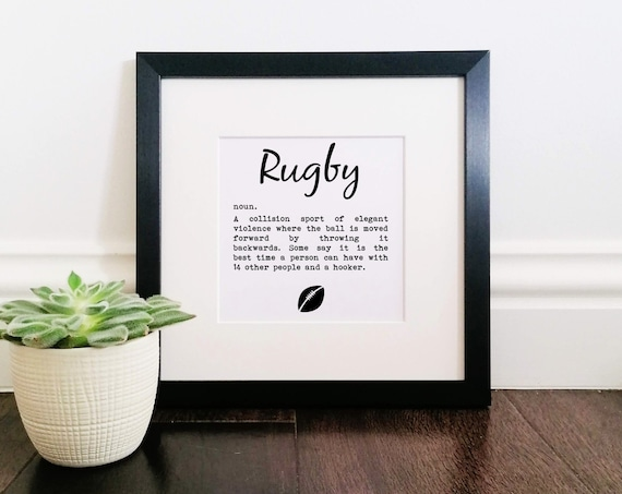 Rugby Gifts. Rugby Definition. Large Framed Print. Rugby Art. Rugby Player Gift, Rugby Print, Rugby Poster, Rugby Team, Funny Rugby Gift
