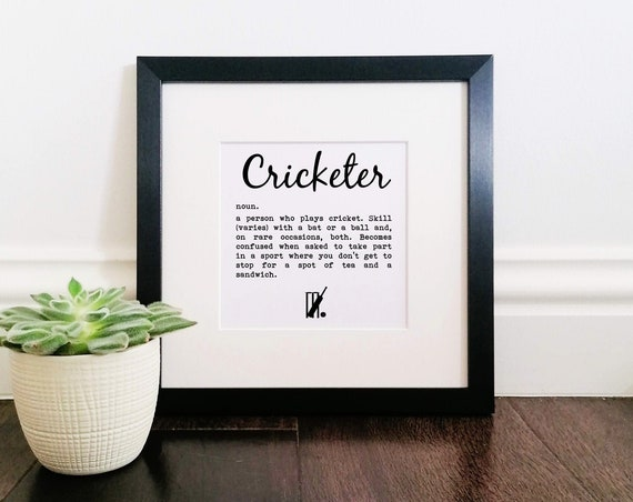 Cricket Gift - Cricketer Definition. Large Framed Print. Cricket Wall Art. Cricket Art Print, Cricket Lover Gift. Cricket Player Gift