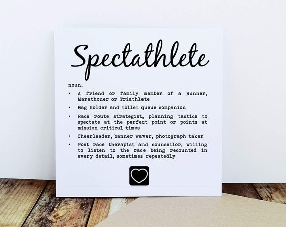 Spectator Card - Spectathlete,  Supporter Card, Thank you Card, Cycling Card, Running Card, Triathlon Card, Marathon Cards, Runner Card