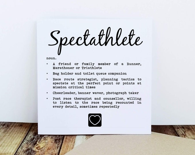 Greetings Card - Spectathlete, Supporter Card - Fitness Gifts