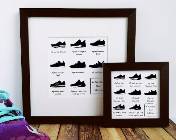 A Runner's Shoe Collection - Runner Print, Running Wall Art, Runners Framed Print, Running Gift, Funny Running Gift, Gift for Runner