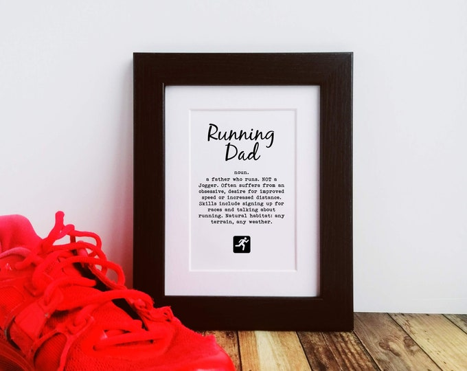 Framed Print - Running Dad Definition - Gifts for Runners Men