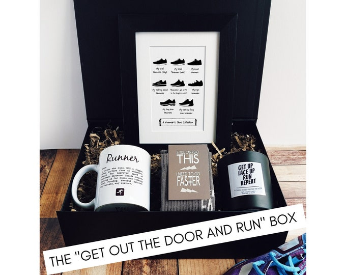 """Running Gift Set – The """"Get out the Door and Run"""" Box - Gift Ideas for Runners"""