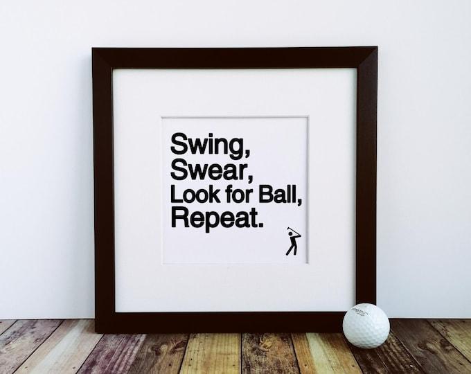 Large Framed Print - Swing Swear... Golf Gifts for Men