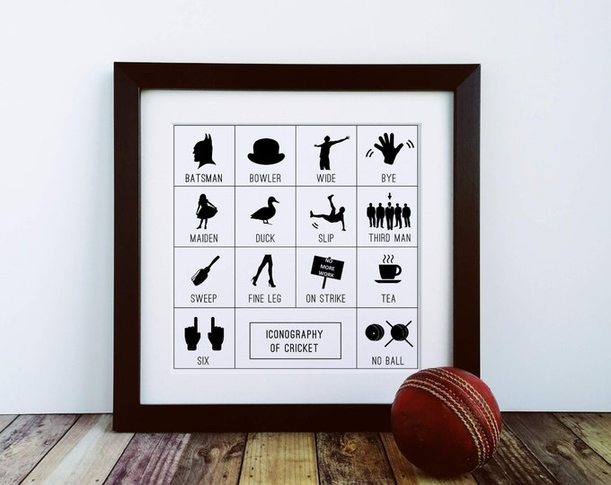 Framed Print - Iconography of Cricket - Cricket Presents