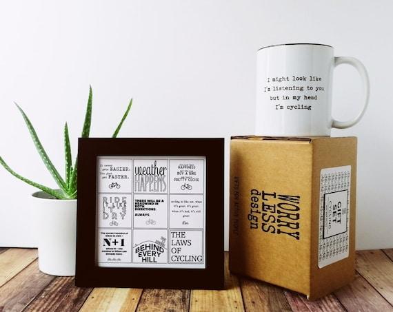 Cycling Gifts - Cycling Gift Sets - Mug and Framed Print Gift Set - Gift for Cyclist UK