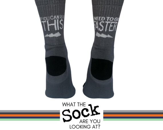 "Funny Socks - ""If you can read this I need to go faster"" - Gifts for Cyclists and Runners"