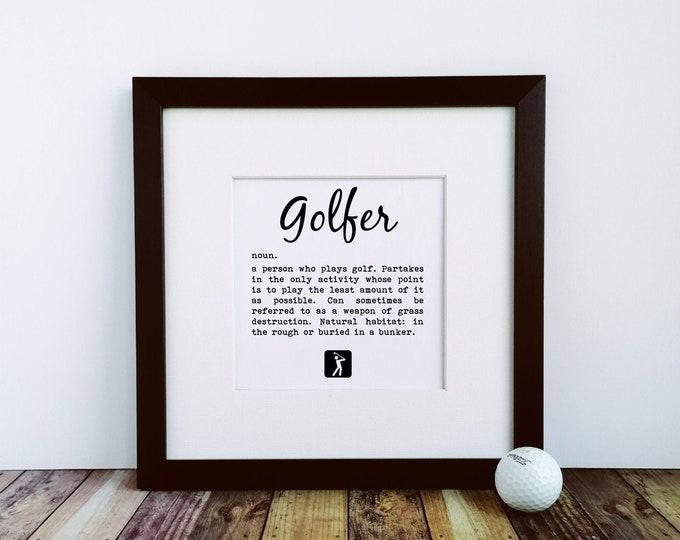 Large Framed Print - Golfer Definition - Golf Presents