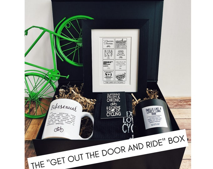 """Cycling Gifts - Cycling Gift Set - The """"Get out the door and Ride"""" Box."""