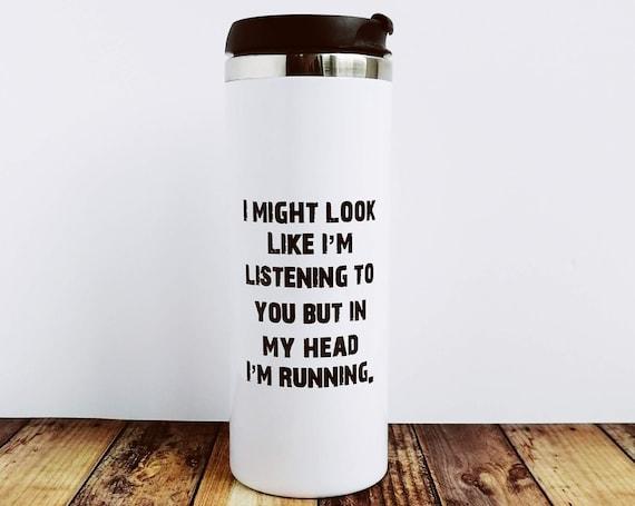 I might look like I'm Listening - Running Water Bottle, Runners Water Bottle, Insulated Water Bottle, Running Gift, Funny Running Gift