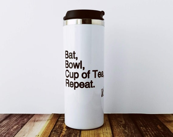 Cricket Gifts - Bat Bowl. Insulated Travel Mug Cricket Sport Gifts, England Cricket, Funny Cricket Gift, Cricket Coach Gift. Leak-proof.