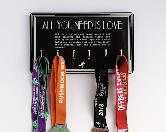 All you need is Love - Medal Hanger, Runner Medal Hanger, Medal Hanger Runner, Running Gift, Funny Running Gift, Gift for Runner