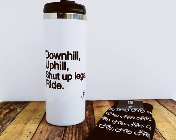 Cycling Gift Set - Cycling Travel Mug and/or Socks, Downhill, Uphill, Repeat. Cycling Gift, Gift for Cyclist, Funny Cycling, Cyclist Gift.